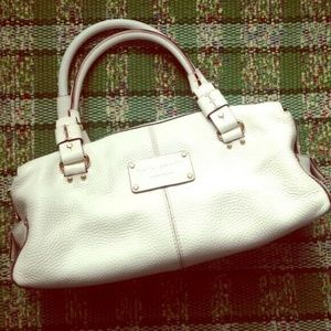 Kate Spade White Pebbled Satchel Handbag